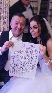 Hochzeit, sw karikatur